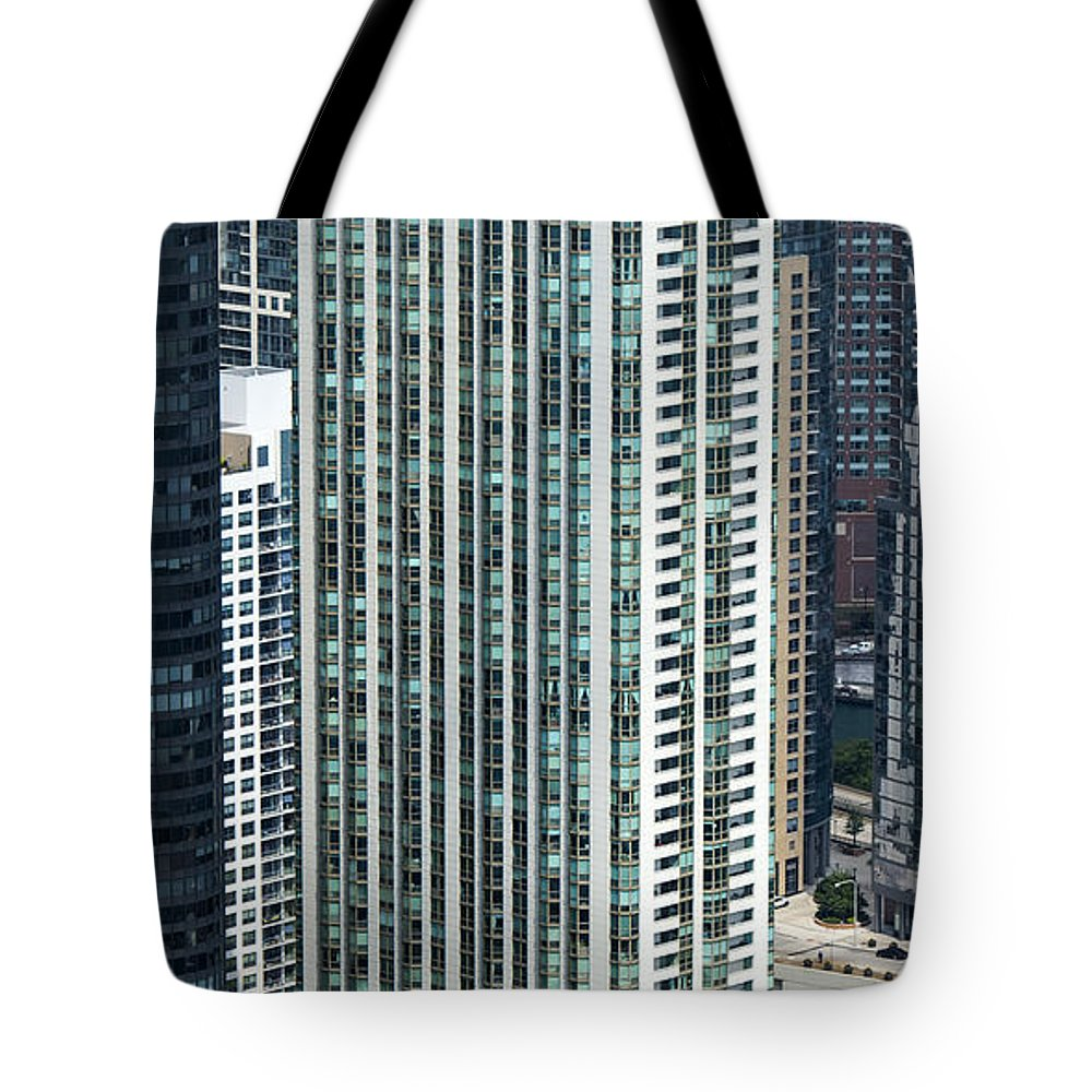 The Parkshore Condominiums Tote Bag featuring the photograph The Parkshore Condominiums Building Chicago Aerial by David Oppenheimer