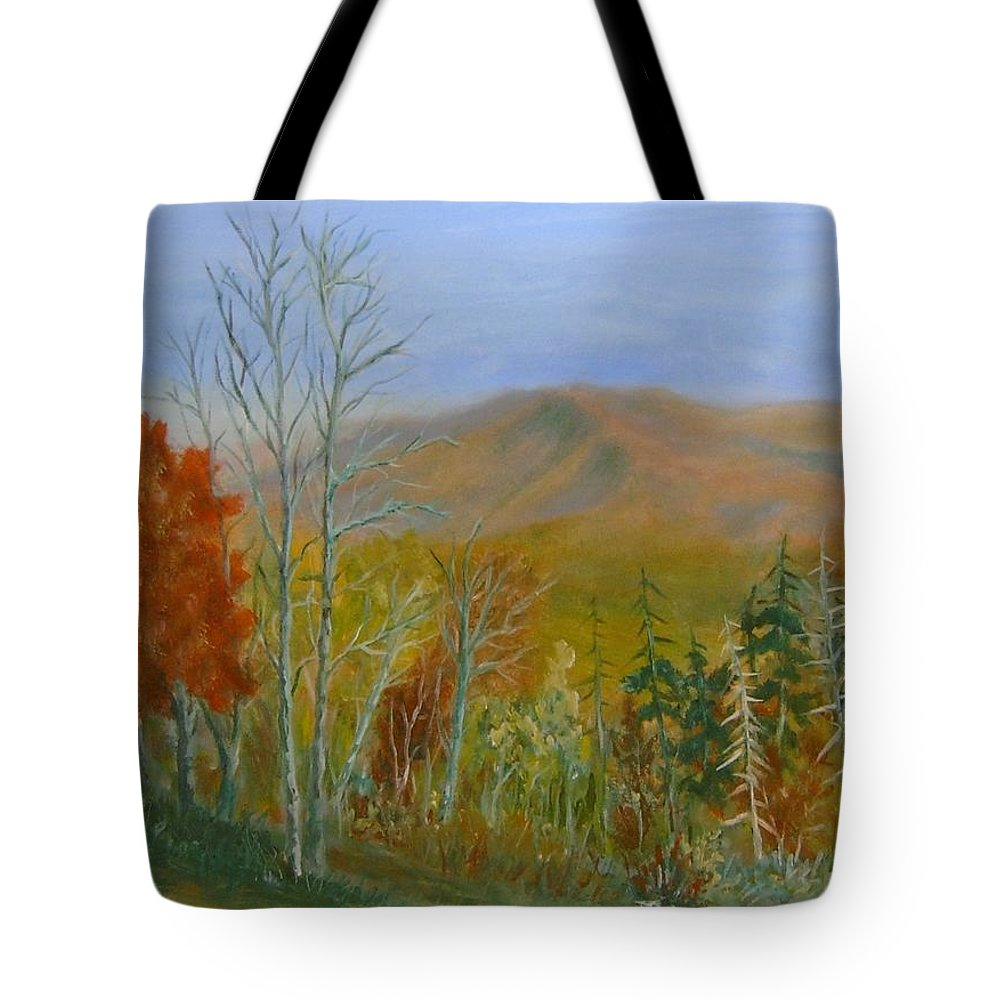 Mountains; Trees; Fall Colors Tote Bag featuring the painting The Parkway View by Ben Kiger