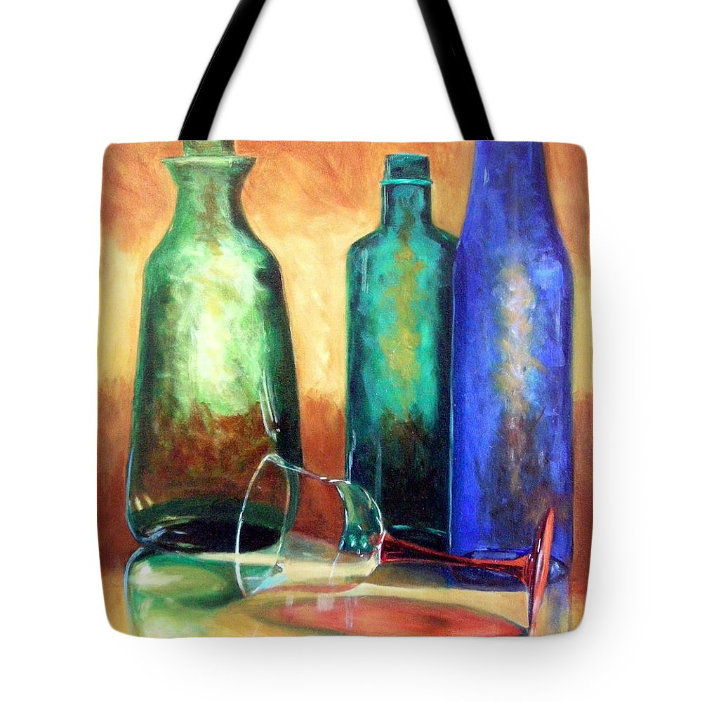 Oil Tote Bag featuring the painting The Party's Over by Linda Hiller