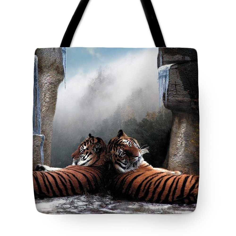 Tigers Tote Bag featuring the digital art The Pass by Bill Stephens