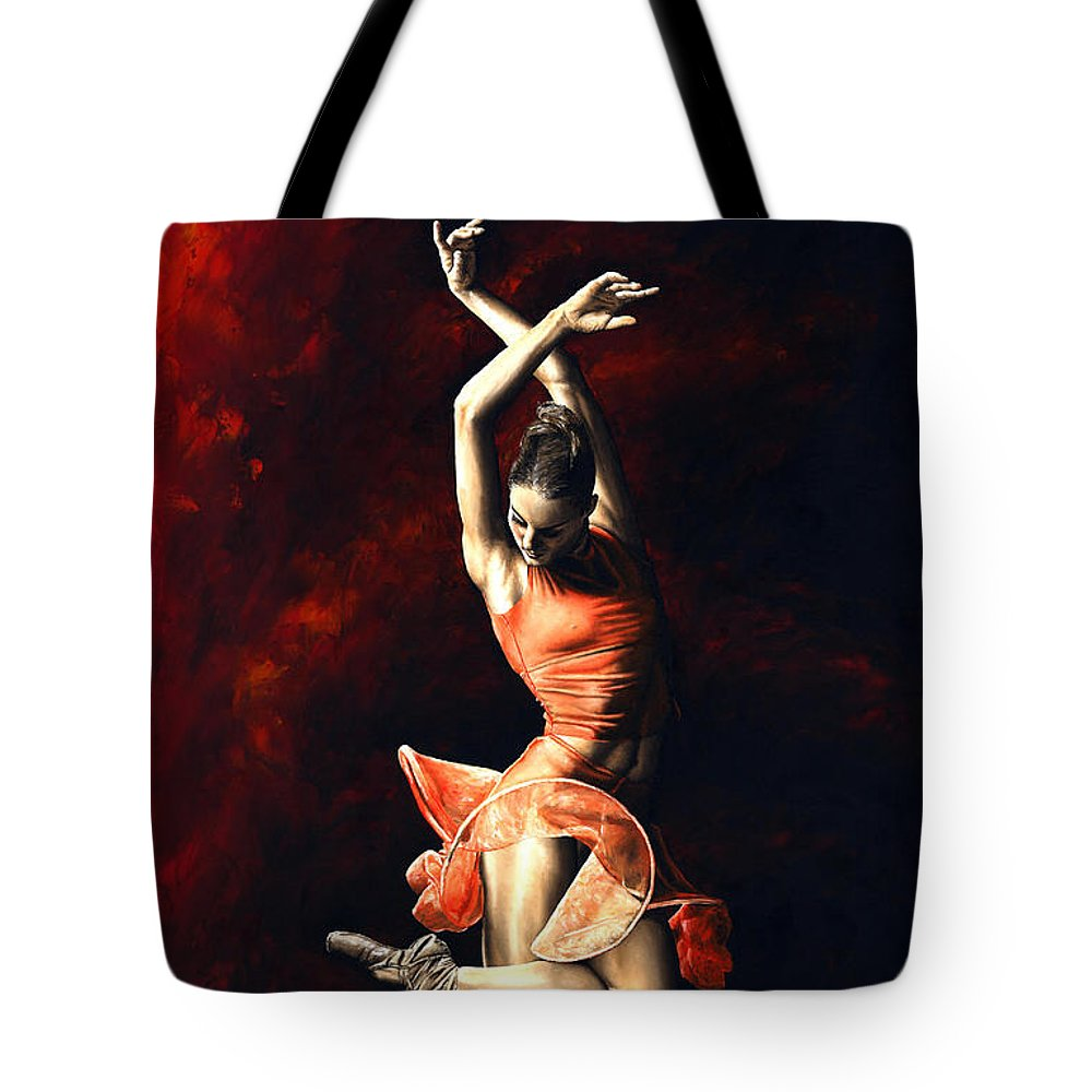 Dancer Tote Bag featuring the painting The Passion Of Dance by Richard Young