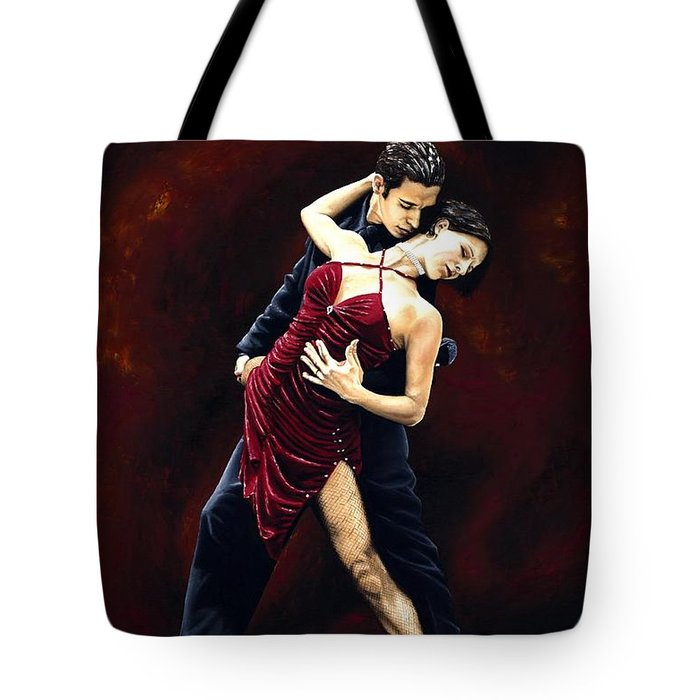 Tango Tote Bag featuring the painting The Passion Of Tango by Richard Young