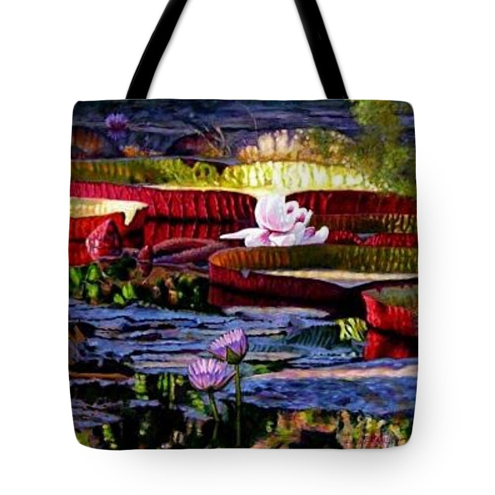 Shadows And Sunlight Across Water Lilies. Tote Bag featuring the painting The Patterns Of Beauty by John Lautermilch