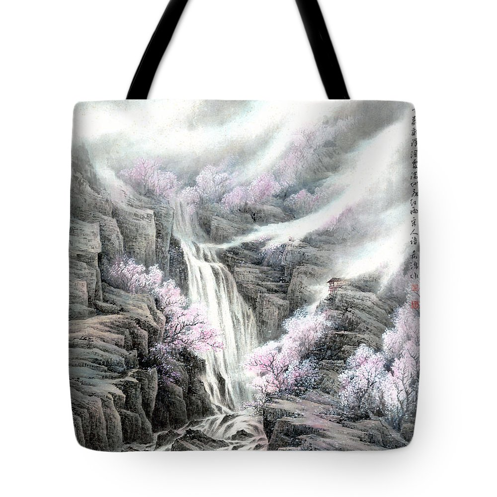 The Peach Blossoms In The Mountains Tote Bag featuring the painting The Peach Blossoms In The Mountains by Dong Xiyuan