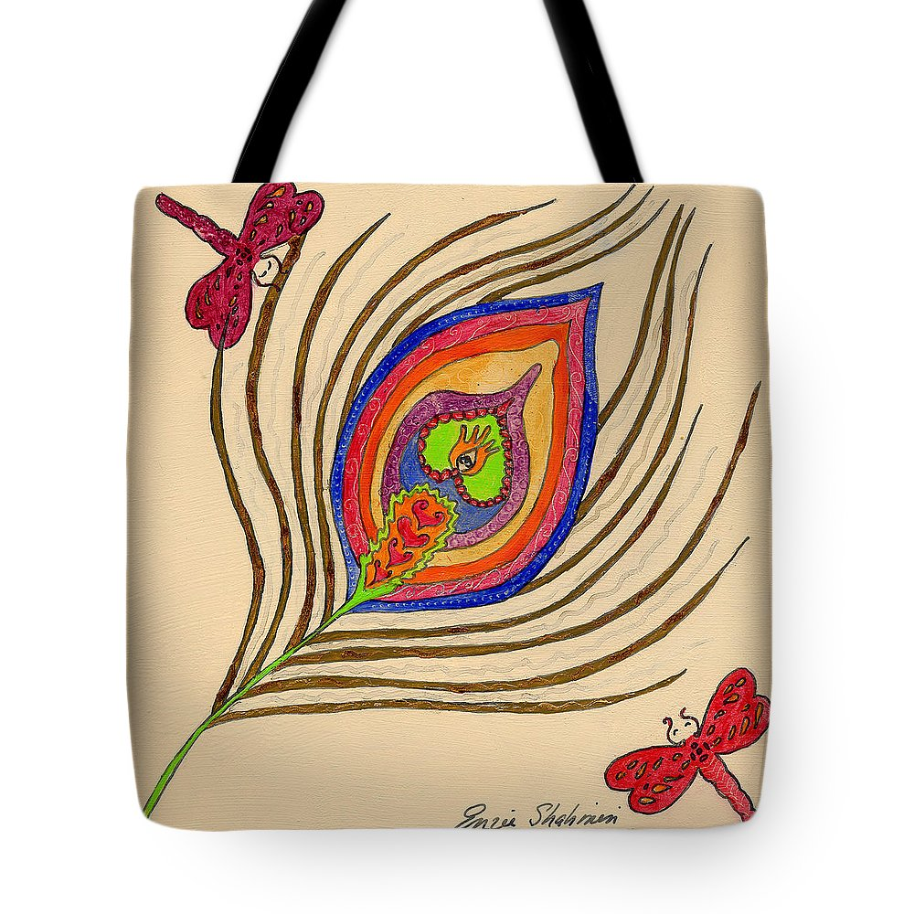 Peacock Tote Bag featuring the painting The Peacock by Portraits By NC