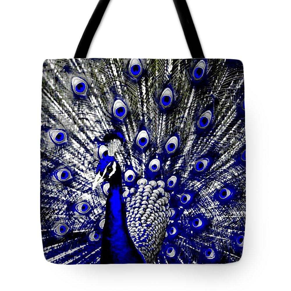 Peacock Tote Bag featuring the painting The Peacock Fan by Frank Berko