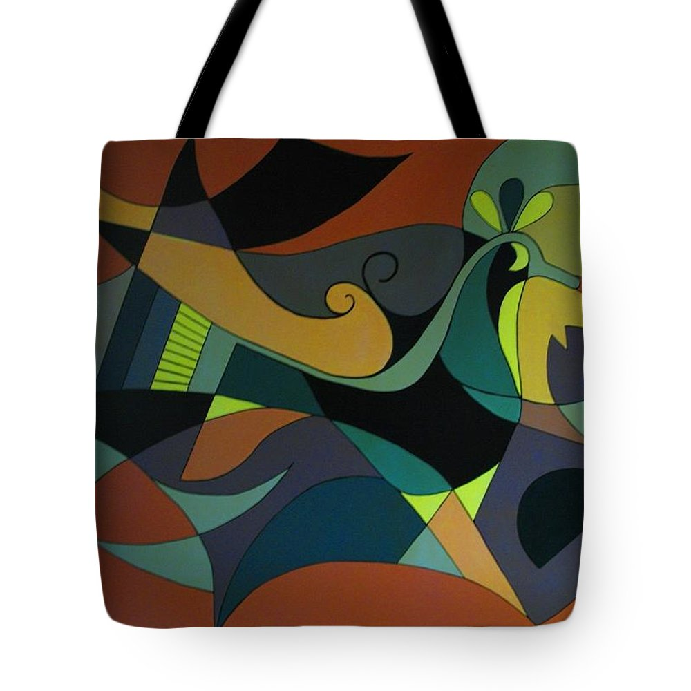 Abstract Tote Bag featuring the painting The Peacock by Vasilis Bottas