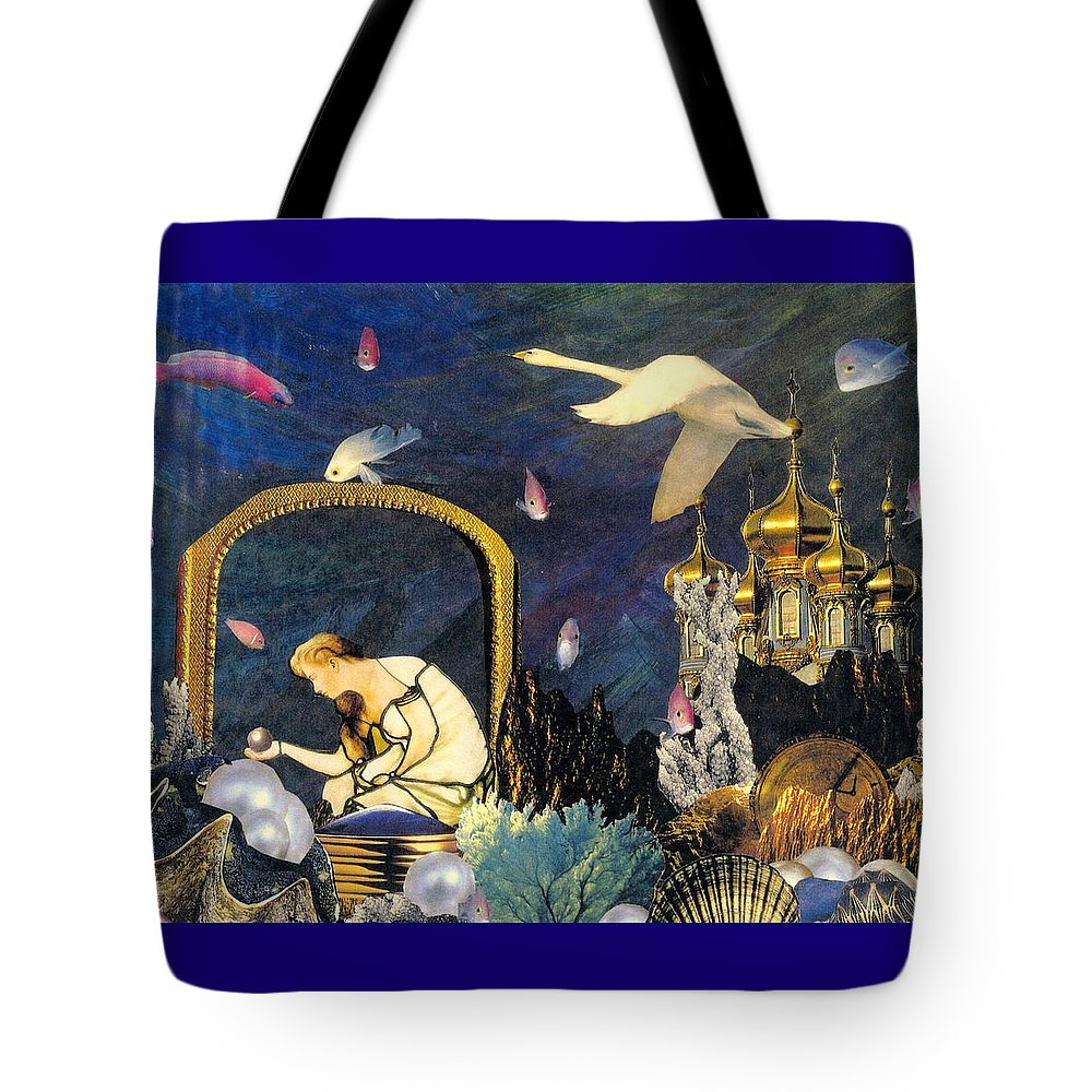 Surealism Tote Bag featuring the mixed media The Pearl Of Great Price by Gail Kirtz