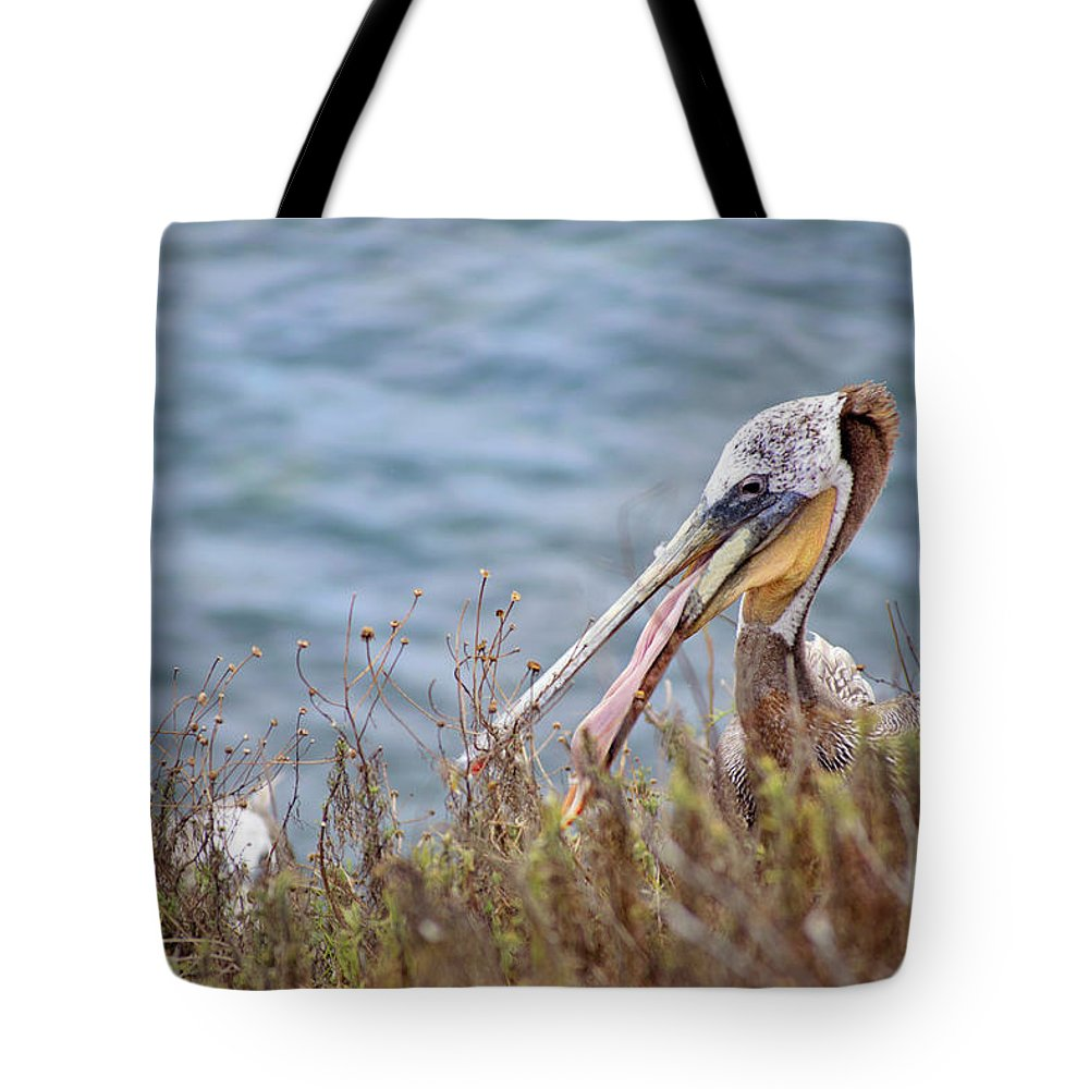 Pelican Tote Bag featuring the photograph The Pelican by Micah Williams
