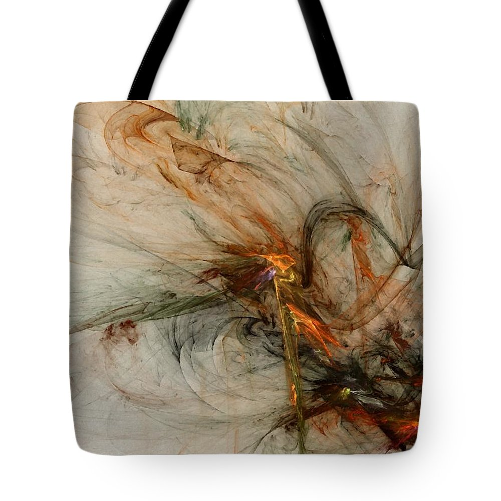 Nonrepresentational Tote Bag featuring the digital art The Penitent Man - Fractal Art by NirvanaBlues