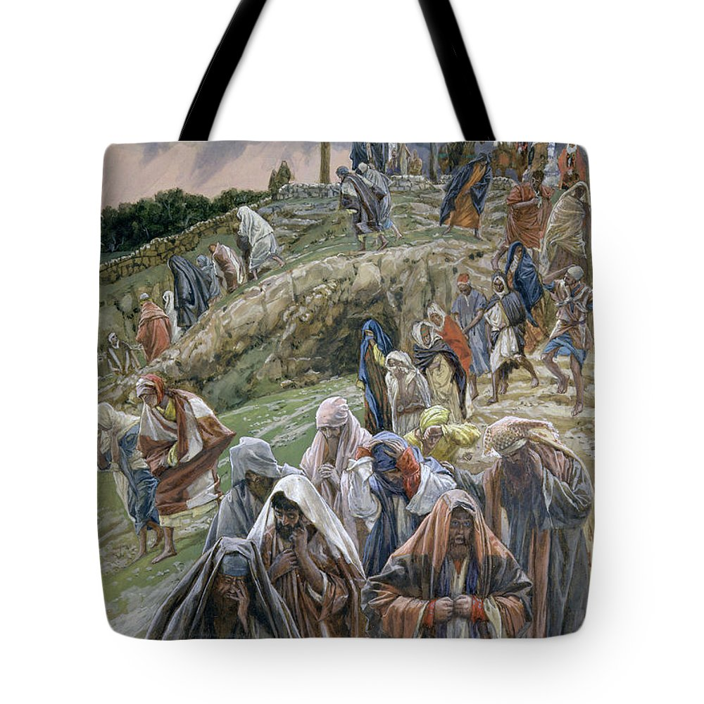 Tote Bag featuring the painting The People Beholding The Things That Were Done Smote Their Breasts by Tissot