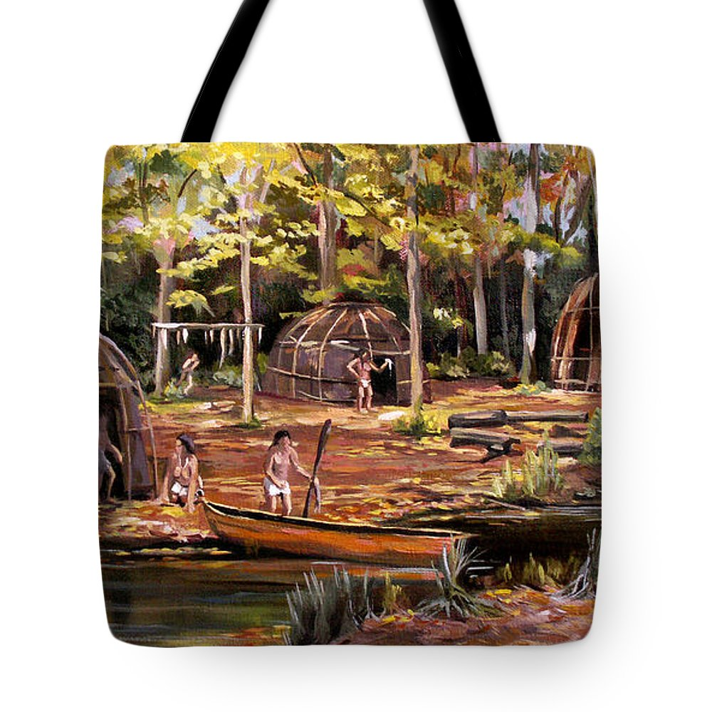 Institute Of American Indian Tote Bag featuring the painting The Pequots by Nancy Griswold
