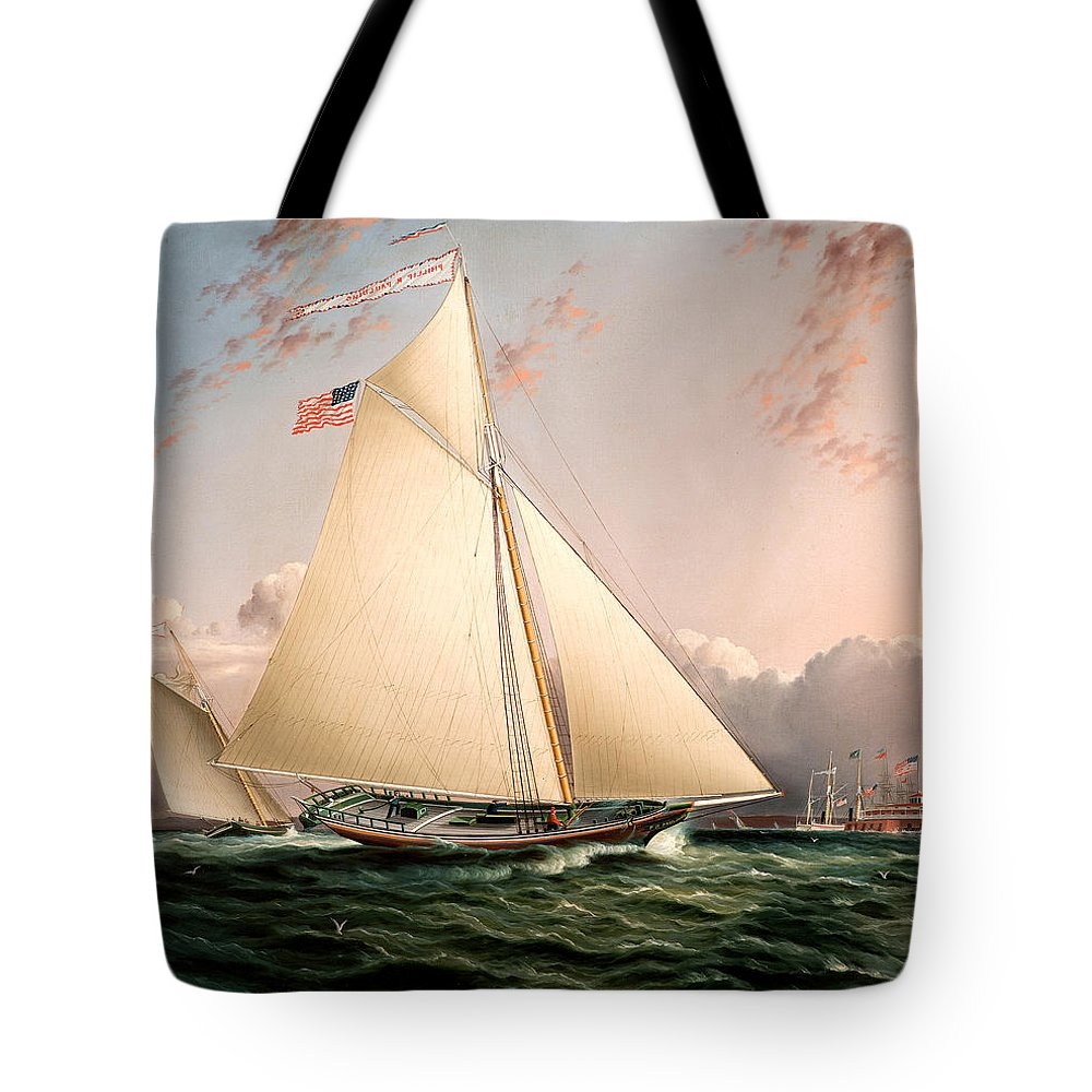 James Edward Buttersworth Tote Bag featuring the painting The Philip R. Paulding In New York Harbor by James Edward Buttersworth