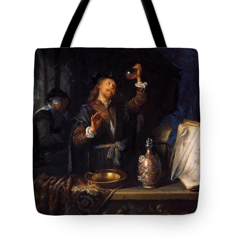 The Tote Bag featuring the painting The Physician 1653 by Dou Gerrit