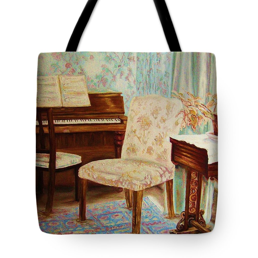 Iimpressionism Tote Bag featuring the painting The Piano Room by Carole Spandau