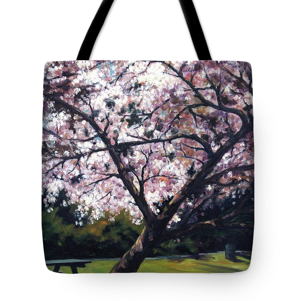 Spring Tote Bag featuring the painting The Picnic Table by Rick Nederlof