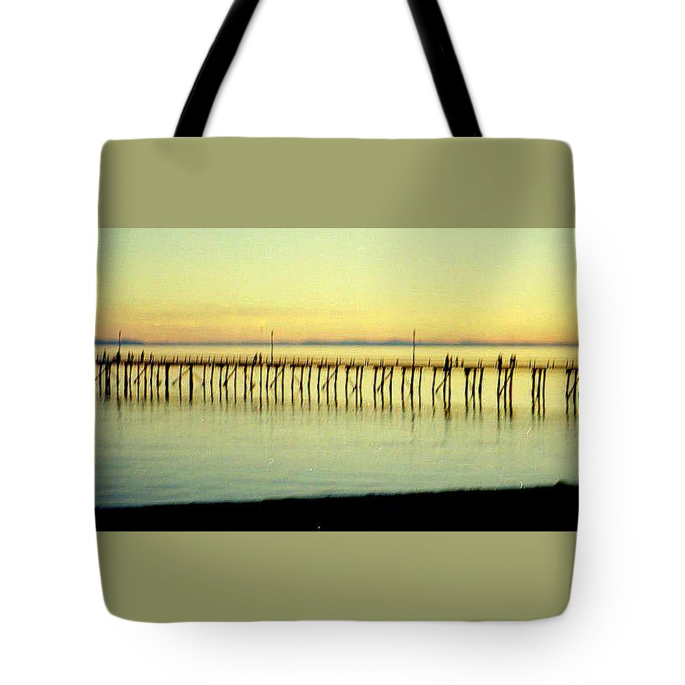 Bridge Tote Bag featuring the photograph The Pier by Maro Kentros