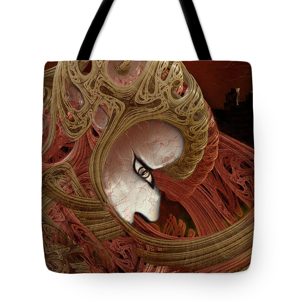 Warrior Darkness Loneliness Eyes Shield Tote Bag featuring the digital art The Pilgrim by Veronica Jackson