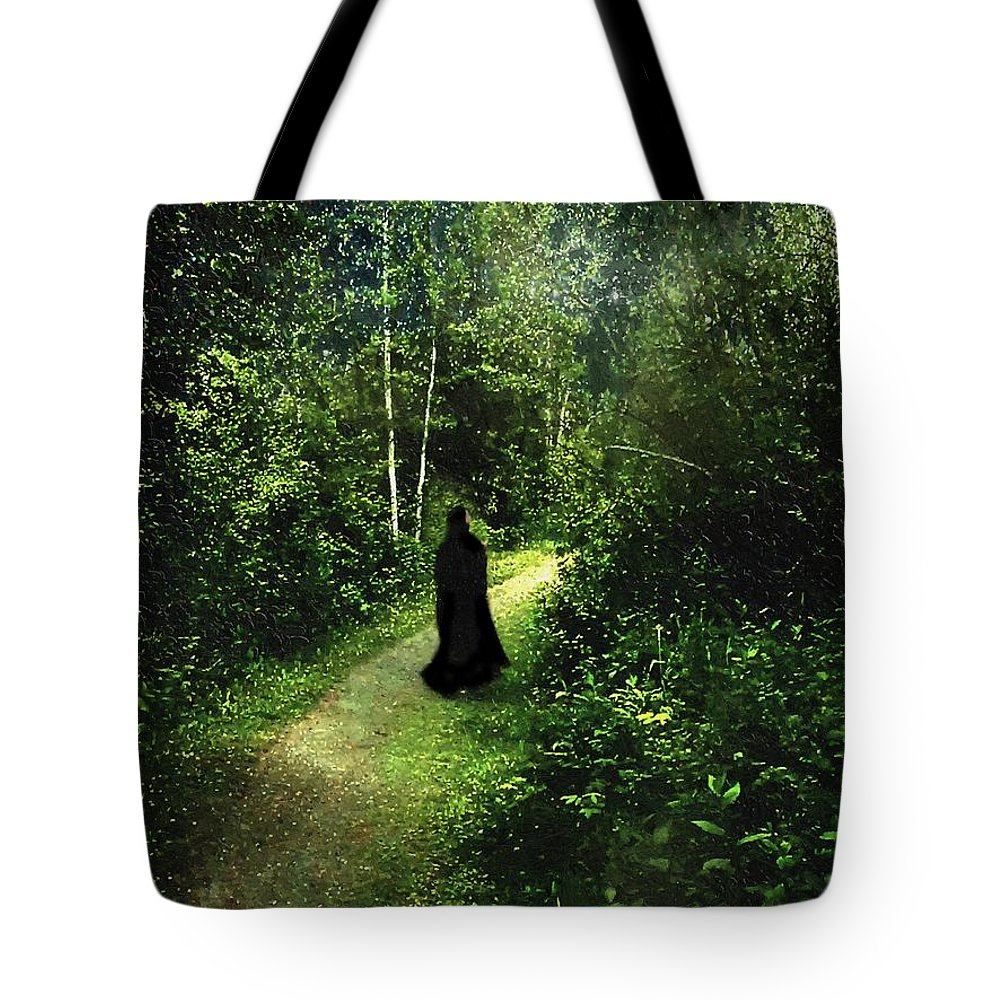 Forest Tote Bag featuring the painting The Pilgrimage by RC DeWinter
