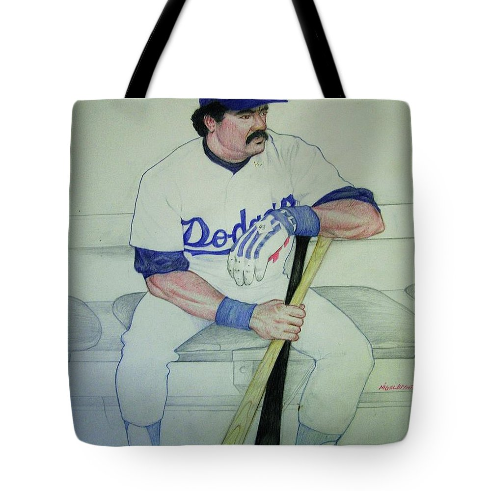Baseball Tote Bag featuring the drawing The Pinch Hitter by Nigel Wynter