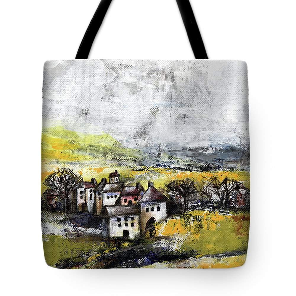 Landscape Tote Bag featuring the painting The Pink House by Aniko Hencz