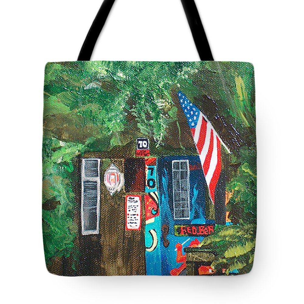 Red Bar Tote Bag featuring the painting The Place by Racquel Morgan