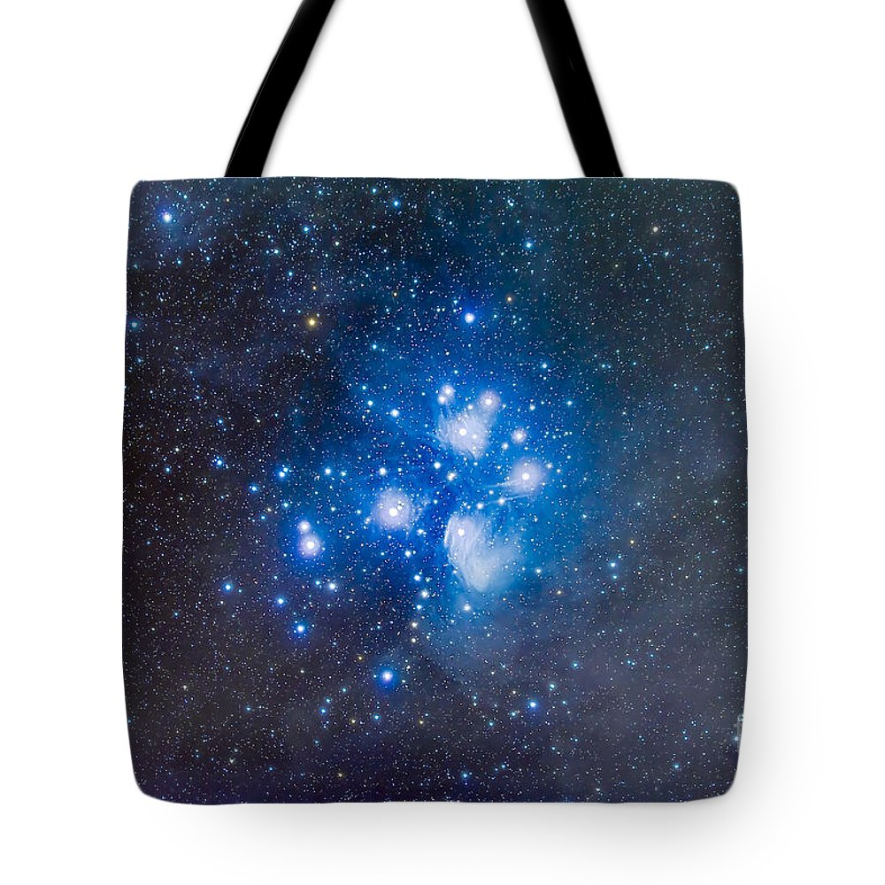 Alcyone Tote Bag featuring the photograph The Pleiades, Also Known As The Seven by Alan Dyer