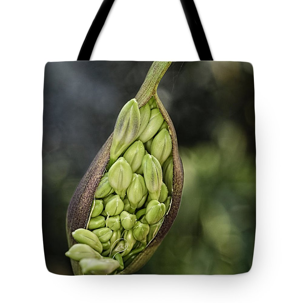 Pod Tote Bag featuring the photograph The Pod Opens by Dennis Reagan