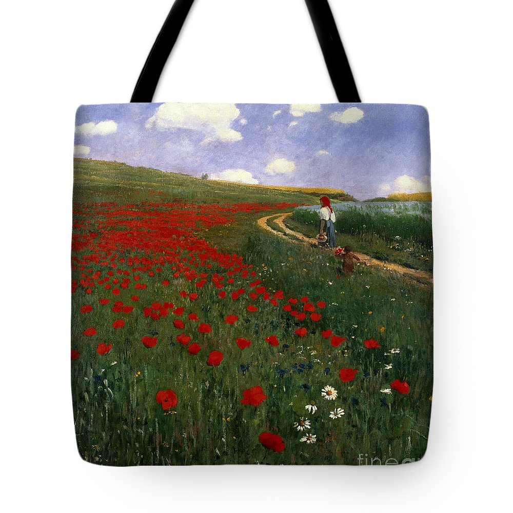 The Poppy Field By Pal Szinyei Merse (1845-1920) Tote Bag featuring the painting The Poppy Field by Pal Szinyei Merse