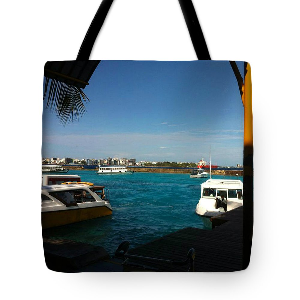 Tote Bag featuring the photograph The Port Of Maldives by Aly Dieaaeldeen