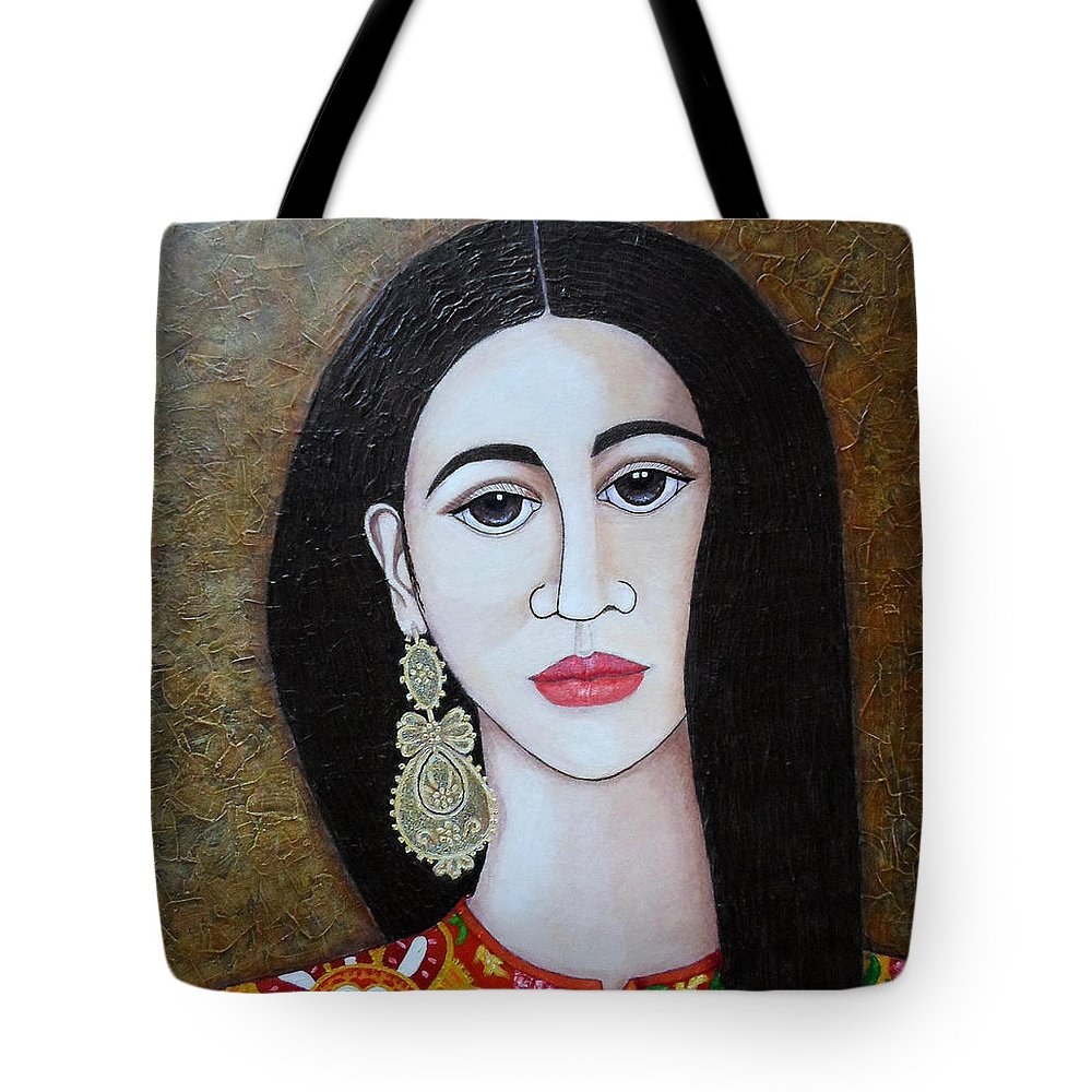 Woman Tote Bag featuring the painting The Portuguese Earring 2 by Madalena Lobao-Tello