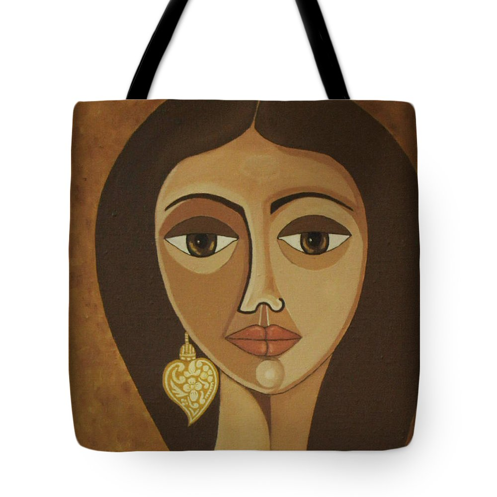 Portuguese Tote Bag featuring the painting The Portuguese Earring by Madalena Lobao-Tello