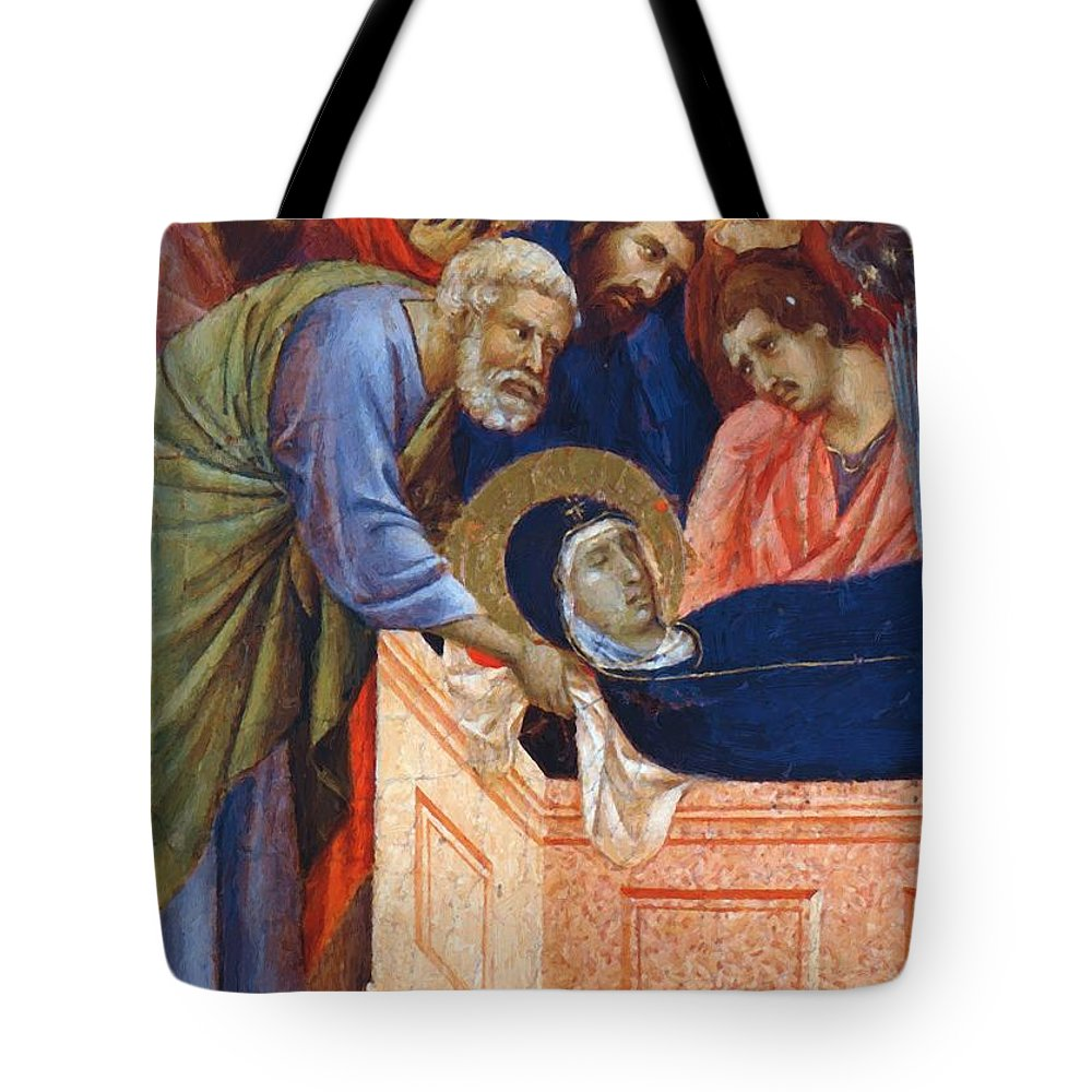 The Tote Bag featuring the painting The Position Of Mary In The Tomb Fragment 1311 by Duccio