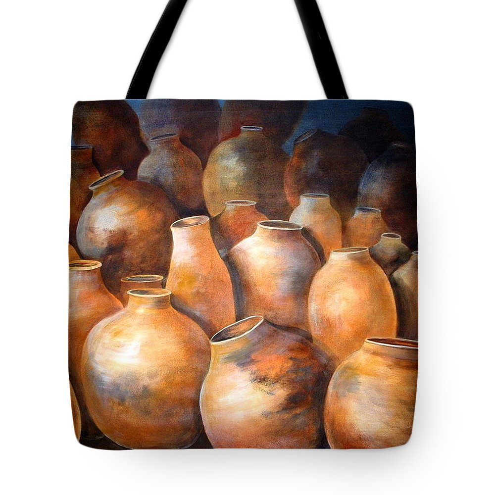 Still Life Tote Bag featuring the painting The Pottery by Patricia Rachidi