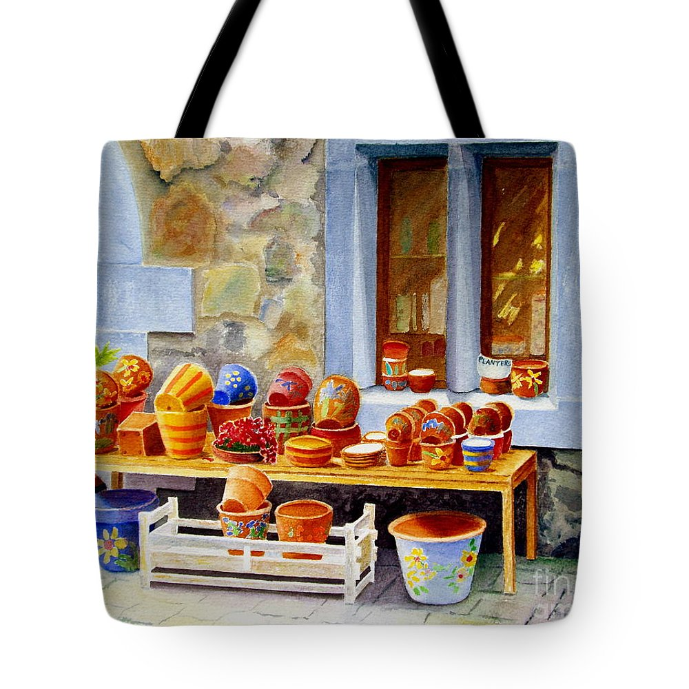 Shop Tote Bag featuring the painting The Pottery Shop by Karen Fleschler