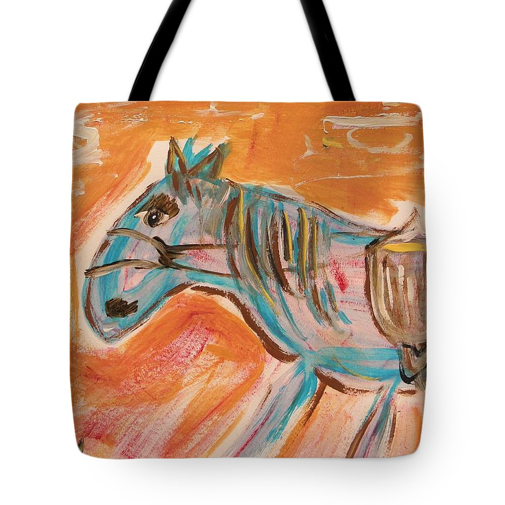 Horse Tote Bag featuring the painting The Power Horse by Mary Carol Williams
