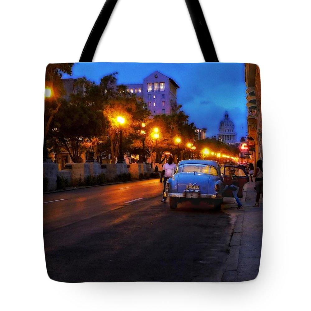Havana Tote Bag featuring the photograph The Prado, Havana Cuba by Cheryl Kurman