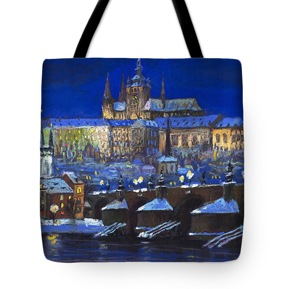 Prague Tote Bag featuring the painting The Prague Panorama by Yuriy Shevchuk
