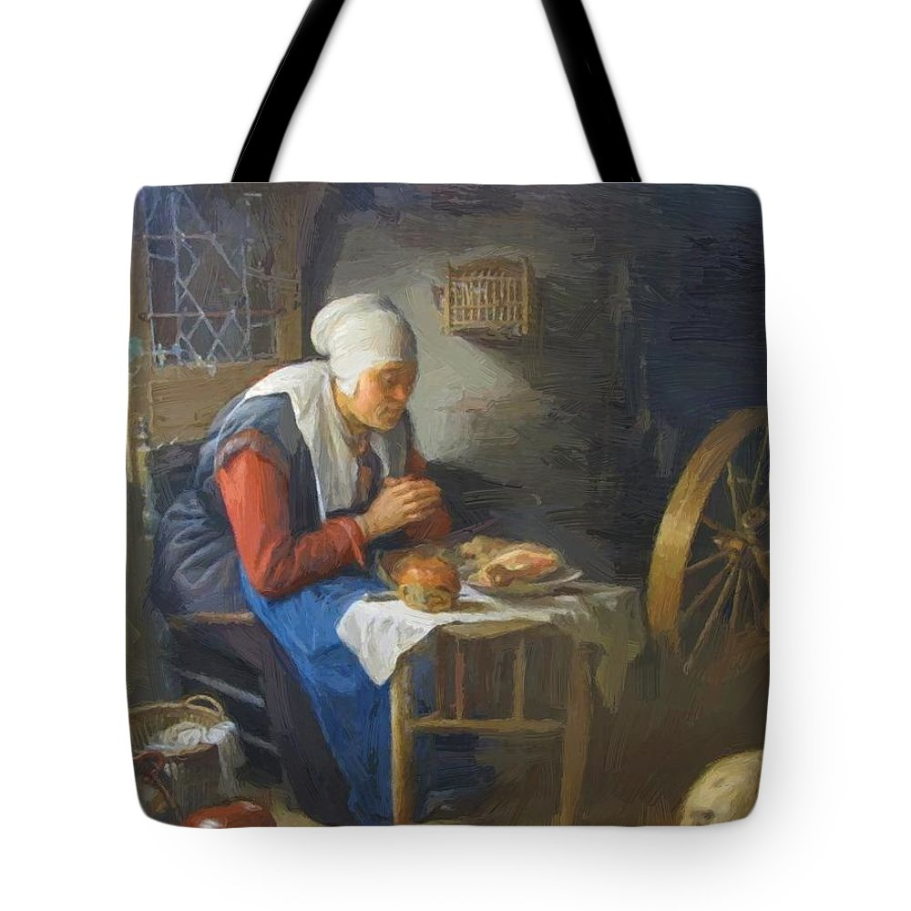 The Tote Bag featuring the painting The Prayer Of The Spinner by Dou Gerrit
