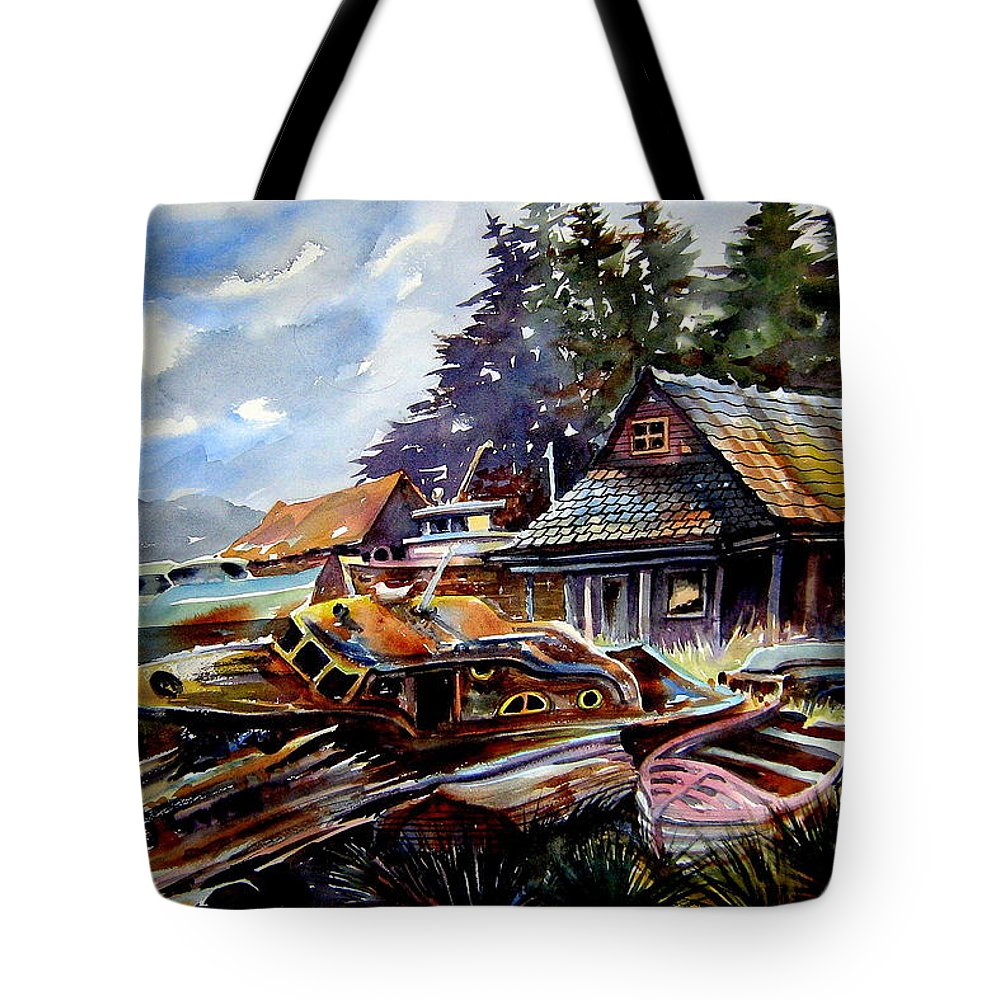 Boats Tote Bag featuring the painting The Preserve Of Captain Flood by Ron Morrison