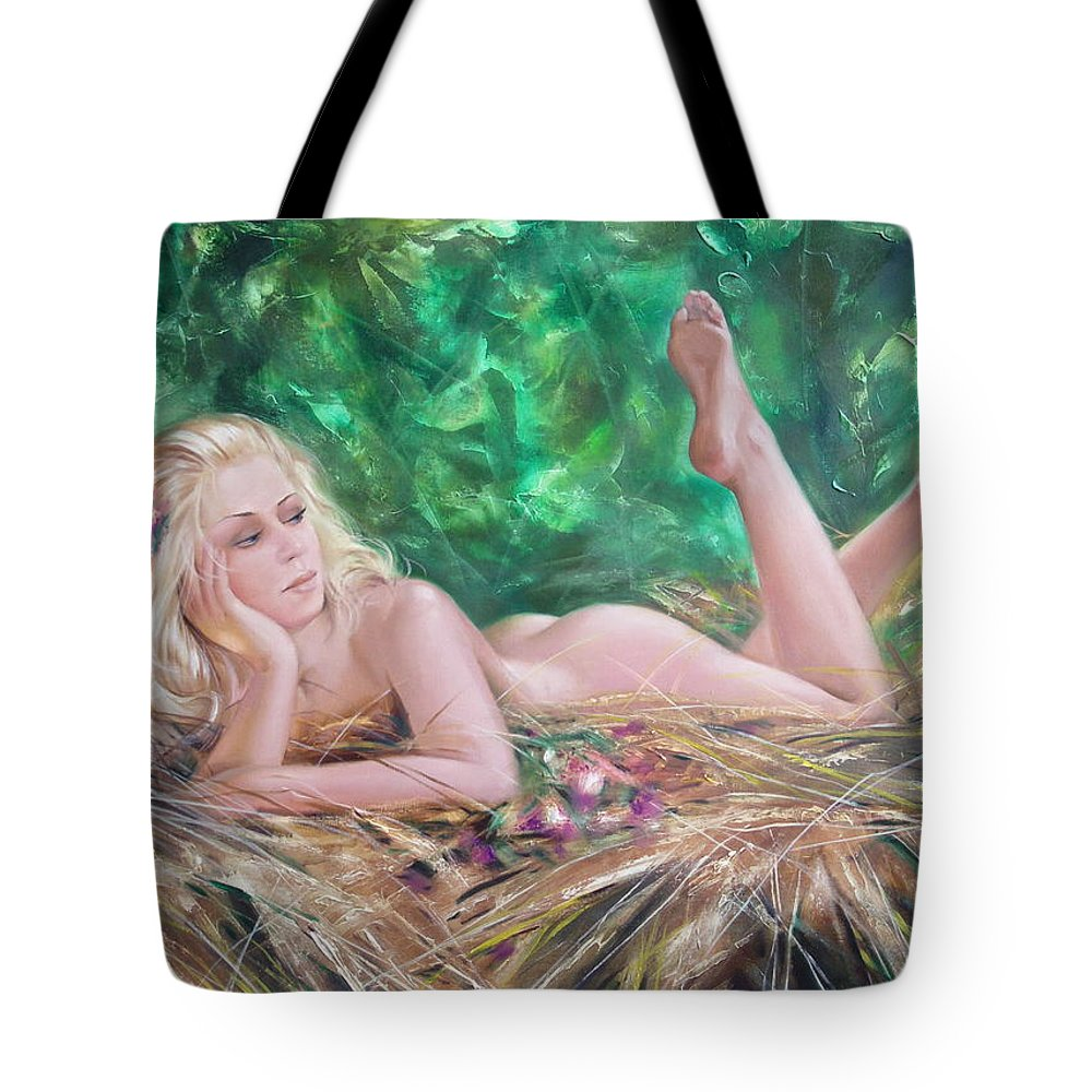 Ignatenko Tote Bag featuring the painting The Pretty Summer by Sergey Ignatenko