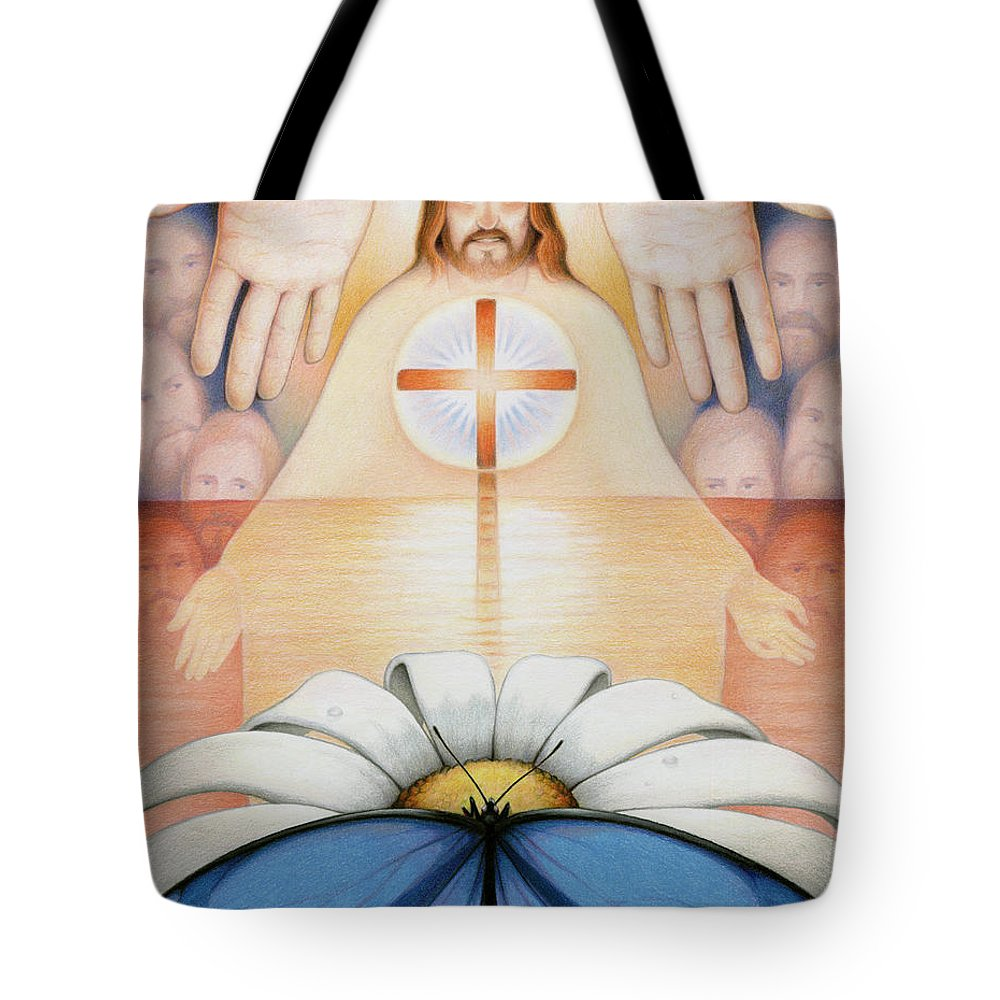 Jesus Tote Bag featuring the drawing The Price And The Promise by Amy S Turner