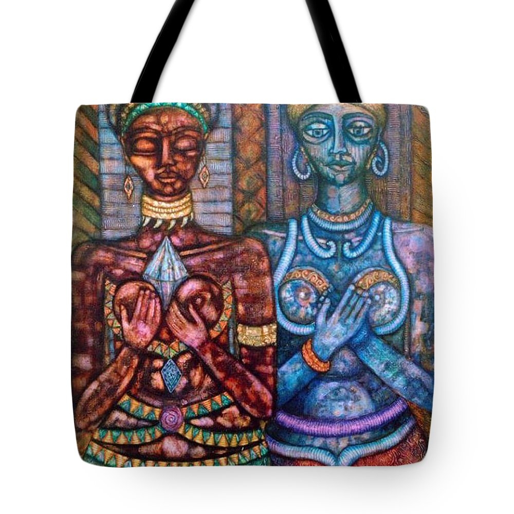 Priestesses Tote Bag featuring the painting The Priestess Of The Occult by Madalena Lobao-Tello