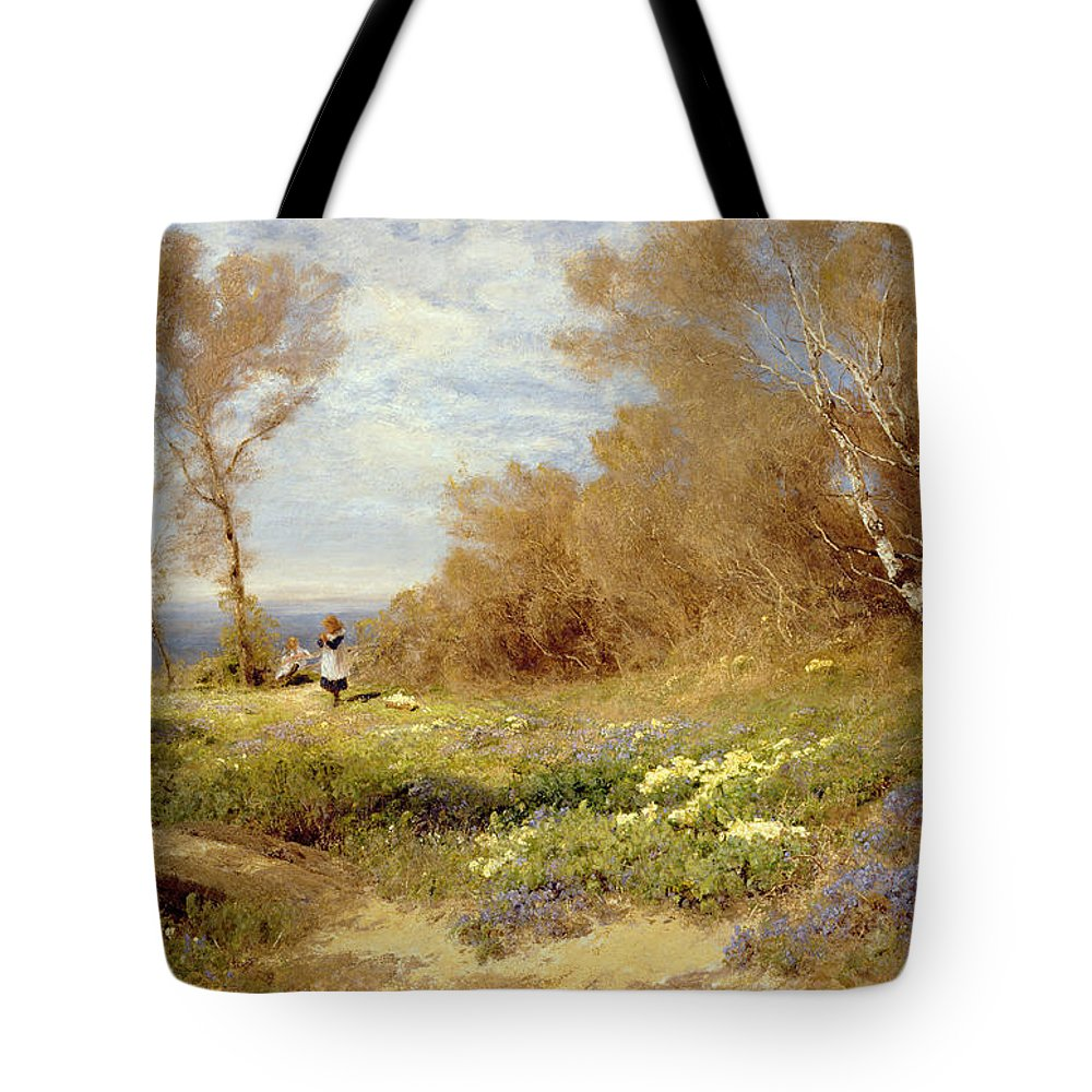 The Primrose Gatherers (oil On Canvas) By John Clayton Adams (1840-1906) Tote Bag featuring the painting The Primrose Gatherers by John Clayton Adams