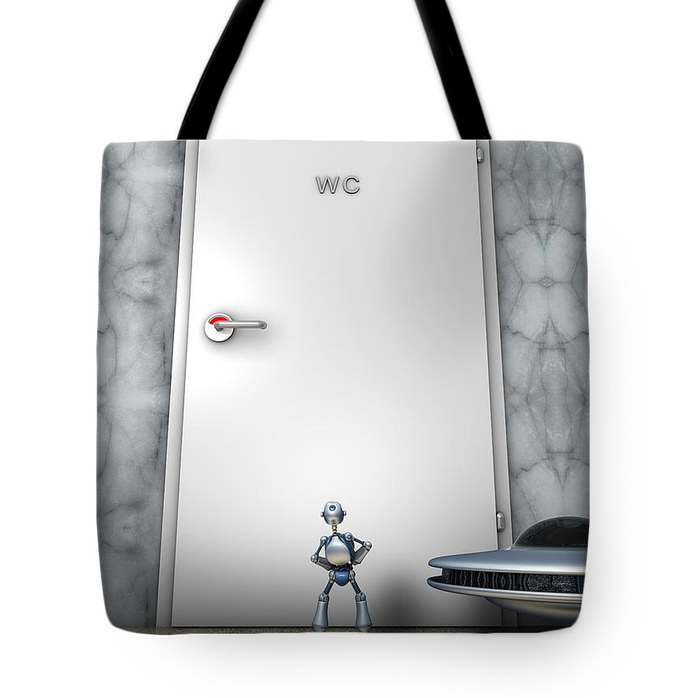 Humor Tote Bag featuring the digital art The Problem by Nandor Volovo