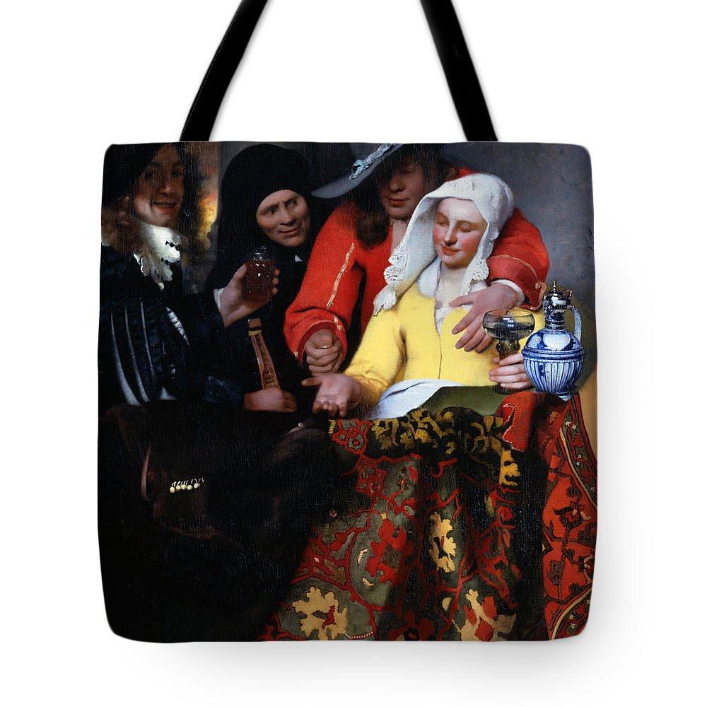 Jan Vermeer Tote Bag featuring the painting The Procuress by Jan Vermeer