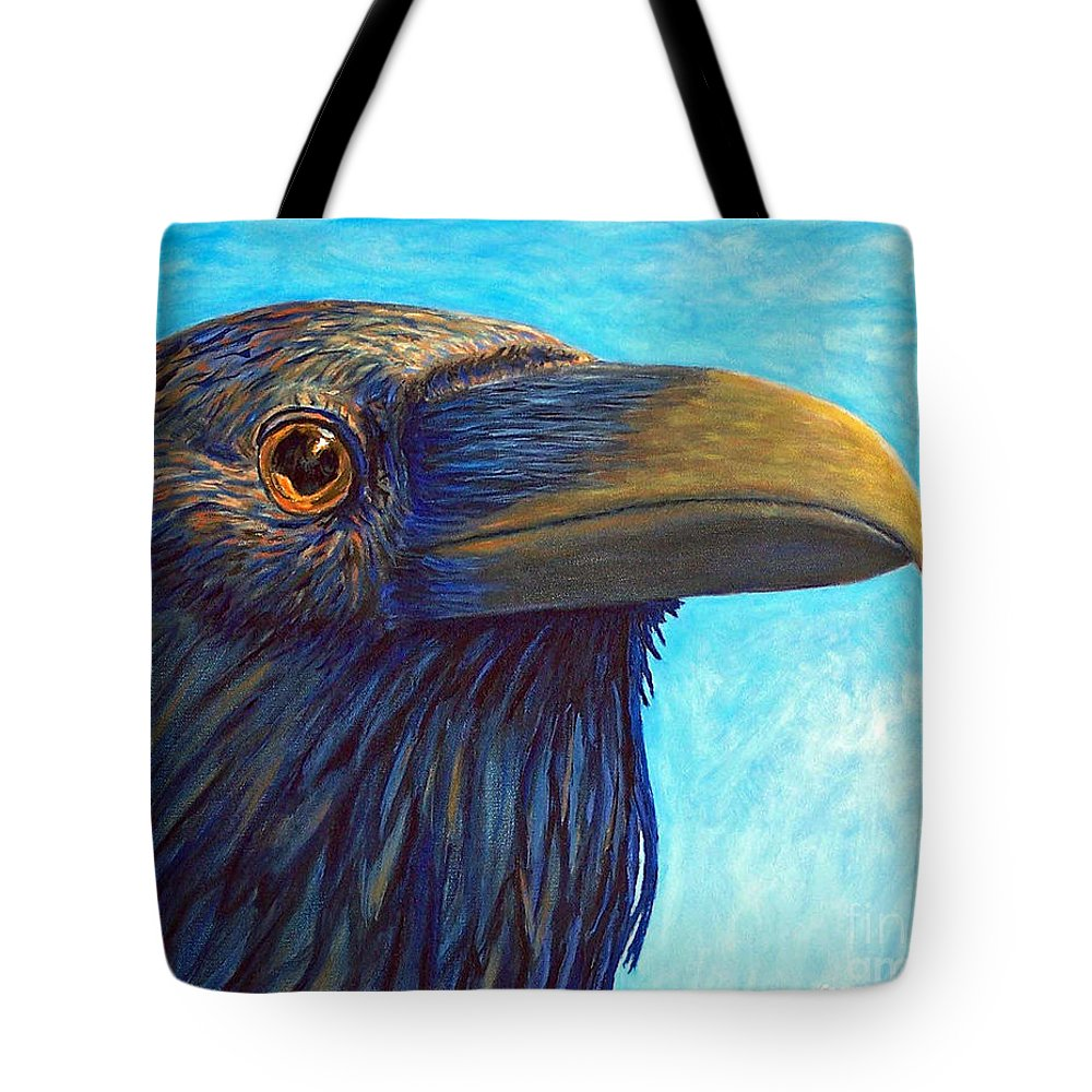 Raven Tote Bag featuring the painting The Prophet by Brian Commerford