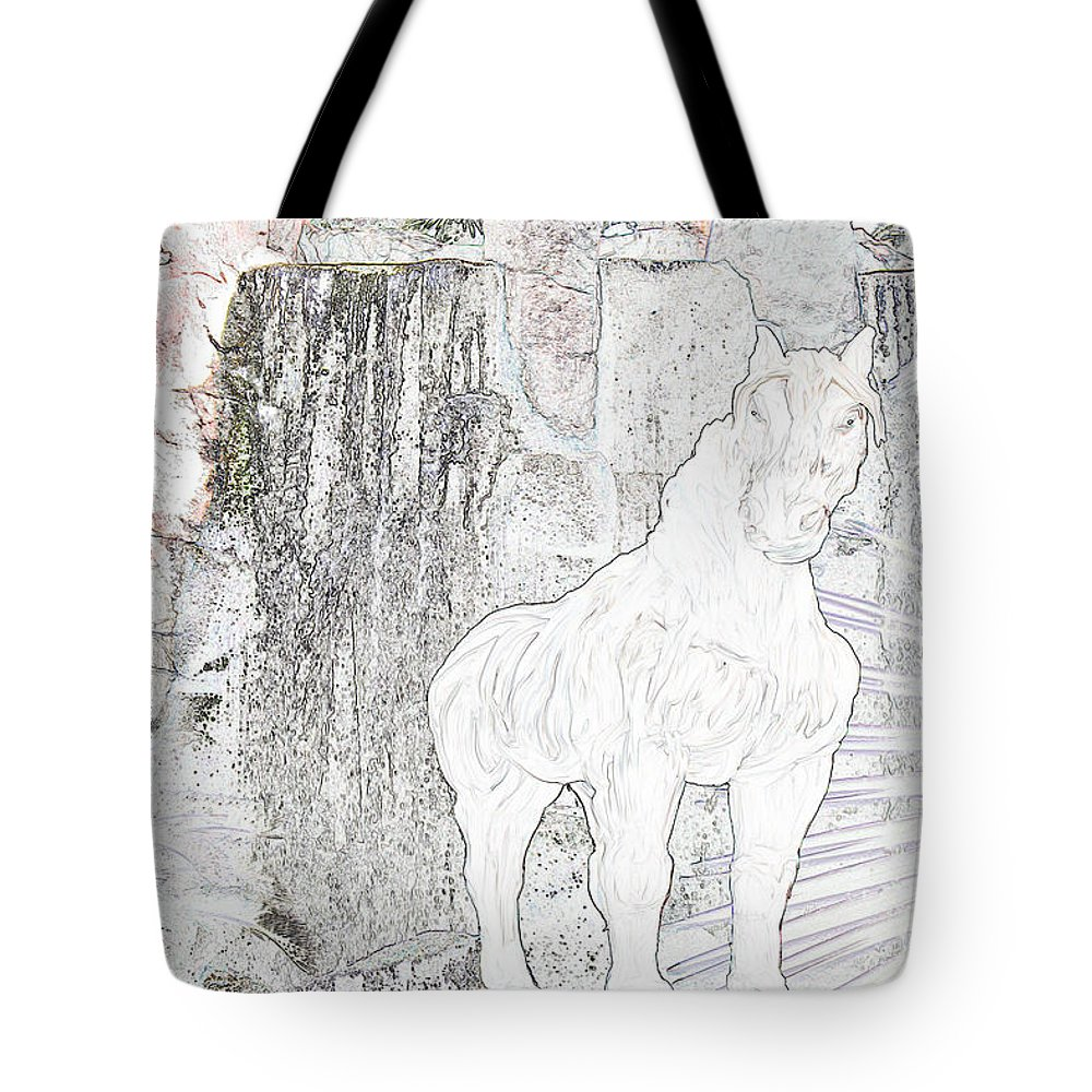 Waterfall Horse Horses Stallion Jungle Forest Scenery Trees Fantasy Tote Bag featuring the photograph The Protector by Andrea Lawrence