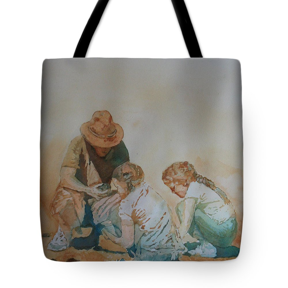 Fathers Tote Bag featuring the painting The Pumice Seekers by Jenny Armitage