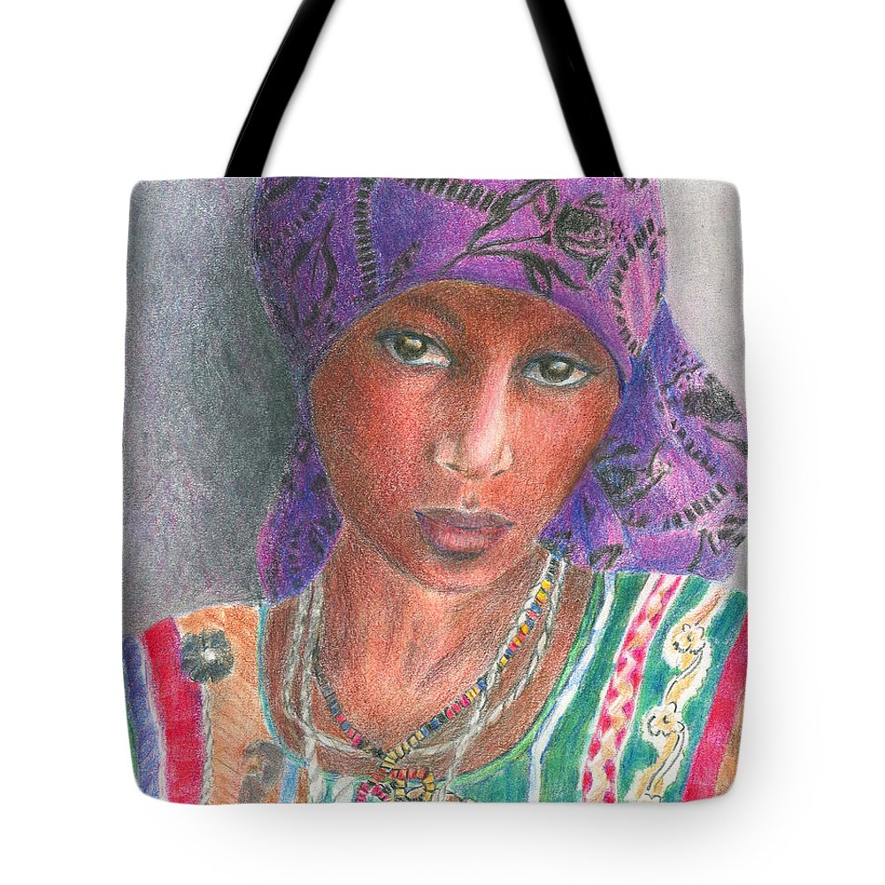 Purple Tote Bag featuring the drawing The Purple Scarf by Arline Wagner